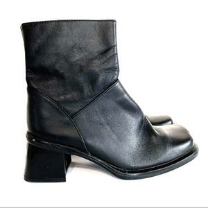 Vintage Black Leather Chunky Square Toe Boots